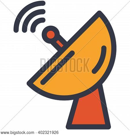 Satellite Antenna Telecom Tower Flat Vector Icon