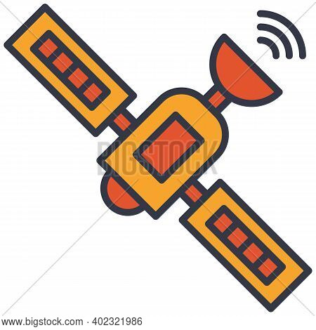 Satellite Internet Communication Flat Vector Icon. Outer Space Satellite Sends Signal.