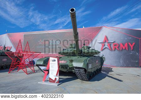 Moscow Region, Russia - August 27, 2020: Russian Main Battle Tank T-90m In The Exposition Of The Int