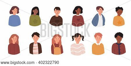 Set Of Children Avatars. Bundle Of Smiling Faces Of Teen Boys And Girls With Different Hairstyles, S