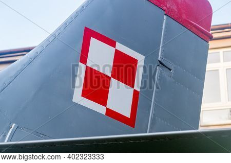 Deblin, Poland - December 23, 2020: Polish Air Force Checkerboard On The Plane.