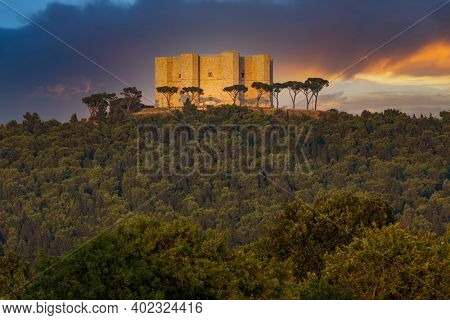 Castel del Monte, castle built in an octagonal shape by the Holy Roman Emperor Frederick II in the 13th century in Apulia region, Italy