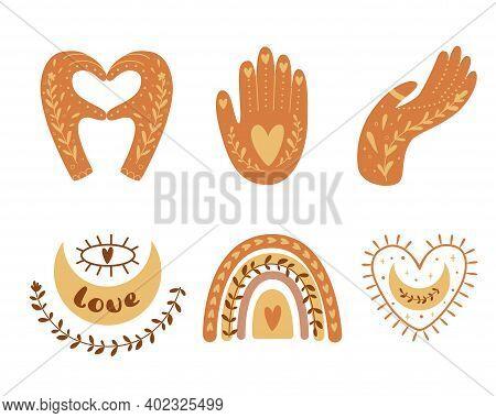 Boho Love Clip Art Hands Set, Moon, Rainbow, Heart Symbol. Cute Bohemian Elements Isolated On White.