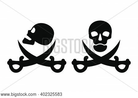 Human Skull In Side And Full Face View And Crossed Sabers. Pirate Sign And Symbol For Design. Isolat