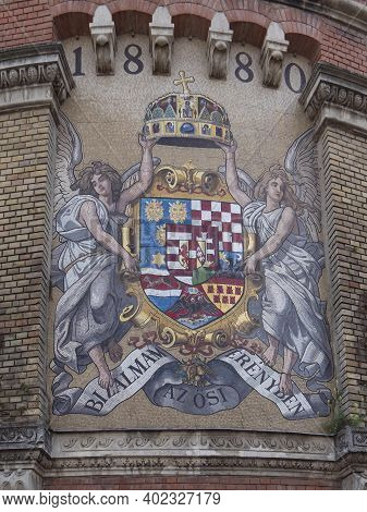 Mosaic Coat Of Arms Of Kingdom Of Hungary On A Wall At Buda Castle In Budapest