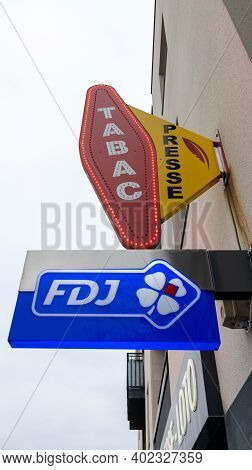 Bordeaux , Aquitaine  France - 01 05 2021 : Fdj Presse And Tabac Sign Logo Of France National Lotter