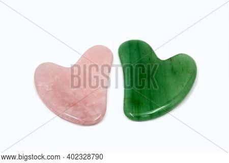 Green And Pink Gua Sha Body Scraping Massage Tool. Facial Natural Jade Stone Board Guasha Cure.