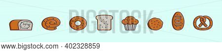 Set Of Raisin, Cake And Bread Cartoon Icon Design Template With Various Models. Modern Vector Illust