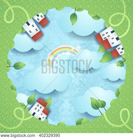 Surreal Landscape With Homes And Footpaths, Vector Illustration Eps10