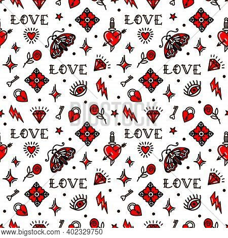 Valentines Day In Oldschool Style Seamless Pattern