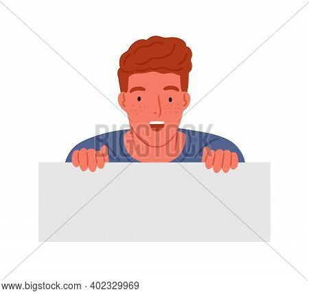 Astonished Red Haired Teen Boy Peeping With Shocked Facial Expression Vector Flat Illustration. Surp