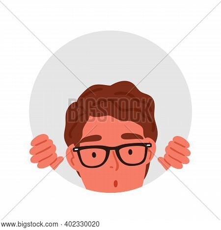 Surprised Male Teenager In Glasses Peeping Through Circle Hole Vector Flat Illustration. Amazed Curi