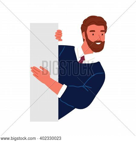 Bearded Business Male Peeping From Behind Wall Vector Flat Illustration. Funny Curious Man Searching