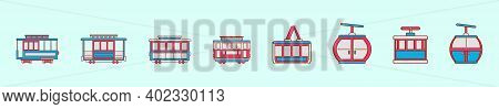 Set Of Cable Car Cartoon Icon Design Template With Various Models. Modern Vector Illustration Isolat