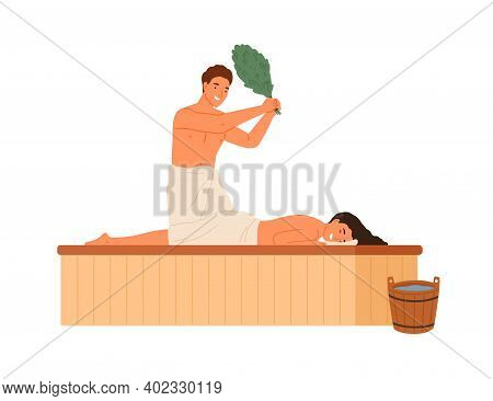 Male Steaming Female Holding Bath Broom Vector Flat Illustration. Woman Wrapped In Towel Lying On Wo