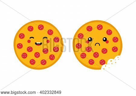 Cute Cartoon Style Round Pepperoni Pizza Characters, Happy Smiling And Sad With Bite Mark.