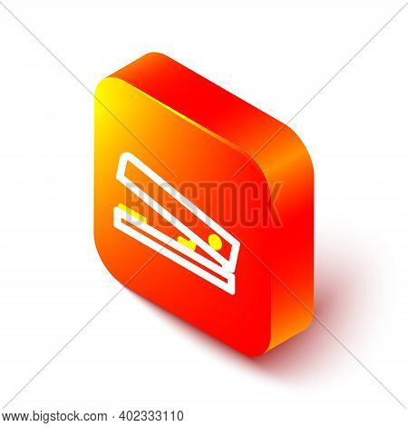 Isometric Line Office Stapler Icon Isolated On White Background. Stapler, Staple, Paper, Cardboard,
