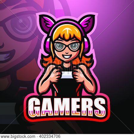 Vector Illustration Of Gamer Girl Mascot Esport Logo Design