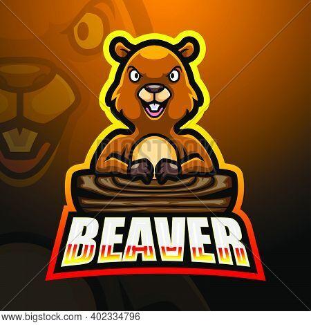 Vector Illustration Of Beaver Mascot Esport Logo Design