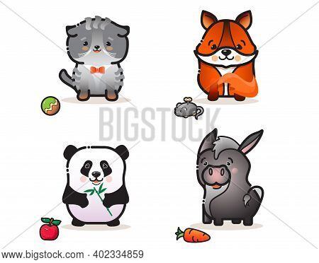 Cute Animals Set. Isolatwd Colorful Cartoon Characters. Vector Sticker Collection.