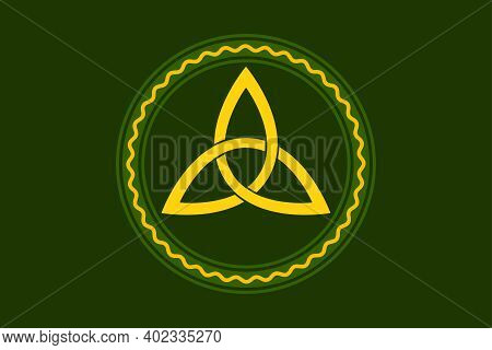 Yellow Colored Triquetra, Celtic Triangle Knot, Within Green Circle Frame, With Orange Serpentine Li