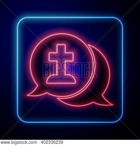 Glowing Neon Man Graves Funeral Sorrow Icon Isolated On Blue Background. The Emotion Of Grief, Sadne