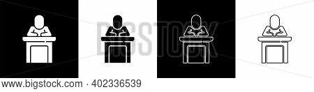 Set Speaker Icon Isolated On Black And White Background. Orator Speaking From Tribune. Public Speech