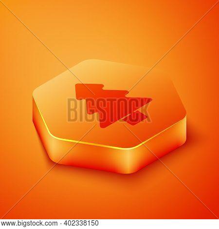 Isometric Tree Icon Isolated On Orange Background. Forest Symbol. Orange Hexagon Button. Vector