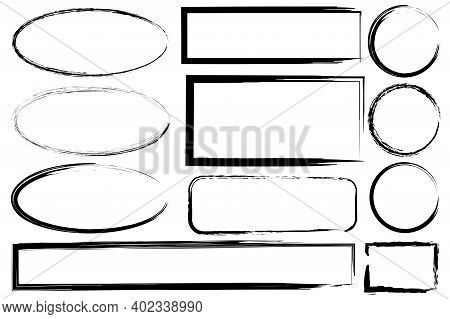 Hand Drawn Set With Black Grunge Ovals Rectangles. Hand Drawn Abstract Vector Set. Stock Image. Eps