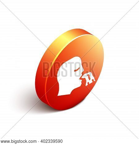 Isometric Vomiting Man Icon Isolated On White Background. Symptom Of Disease, Problem With Health. N