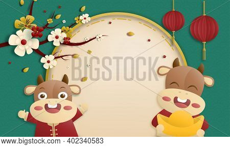 Chinese New Year 2021 Traditional Green Greeting Card Illustration With Traditional Asian Decoration