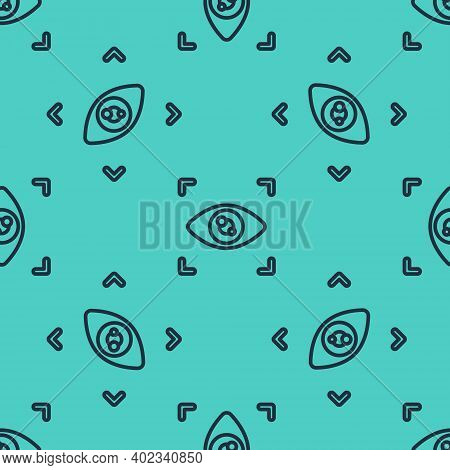 Black Line Eye Scan Icon Isolated Seamless Pattern On Green Background. Scanning Eye. Security Check