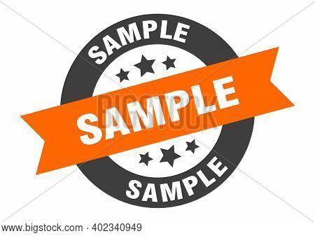Sample Sign. Sample Orange-black Round Ribbon Sticker