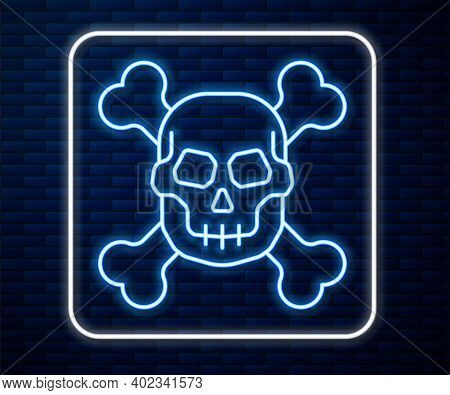 Glowing Neon Line Skull On Crossbones Icon Isolated On Brick Wall Background. Happy Halloween Party.