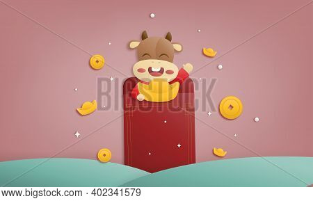 2021 Happy Chinese New Year Paper Cutting Greeting Card, Year Of The Ox Design Cute Cows Smiling Hol