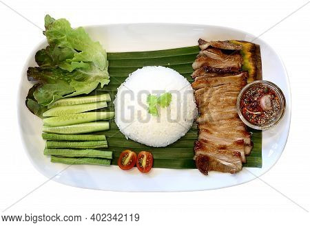 Top View Of Thai Spicy Food - Grilled Pork With Spicy Dip
