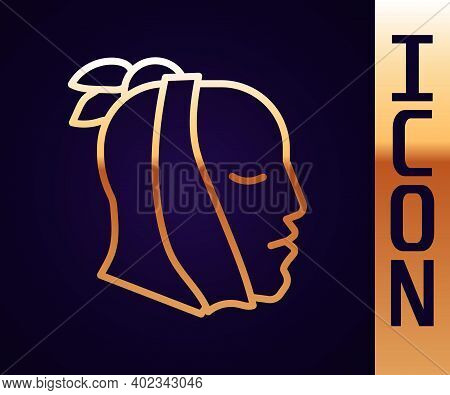 Gold Line Toothache Icon Isolated On Black Background. Vector