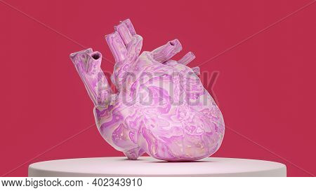 Bright Colored Shiny Unusual Creative Anatomical Heart On Stand, 3d Render