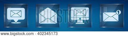 Set Speech Bubble With Envelope, Envelope, Monitor And Envelope And Envelope. Square Glass Panels. V
