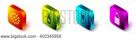 Set Isometric Firework, Beer Bottle, Glass Of Champagne And Mulled Wine Icon. Vector