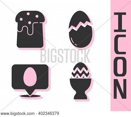 Set Easter Egg On A Stand, Easter Cake, Speech Bubble With Easter Egg And Broken Egg Icon. Vector