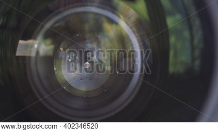 Camera Lens Aperture Close Up. Action. Outdoors View Of A Professional Camera Lense With Aperture Cl