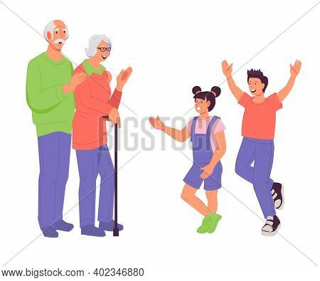 Happy Grandparents And Grandchildren Family Portrait, Flat Vector Illustration Isolated On White Bac