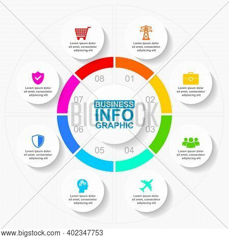 Infographic Vector Template For Presentation, Chart, Diagram, Graph, Business Concept With 8 Options
