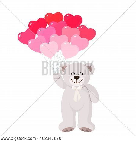 Cute Teddy Bear Flying On Air Blue And Gold Balloons. Concept Of Congratulations Happy Birthday, Mot