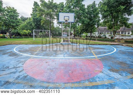 View Of Old Basketball Court In The Garden At Thailand