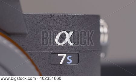 Russia, Moscow-december, 2020: Close-up Of Sonys New Camera. Action. Close-up Model Of New Camera Fr