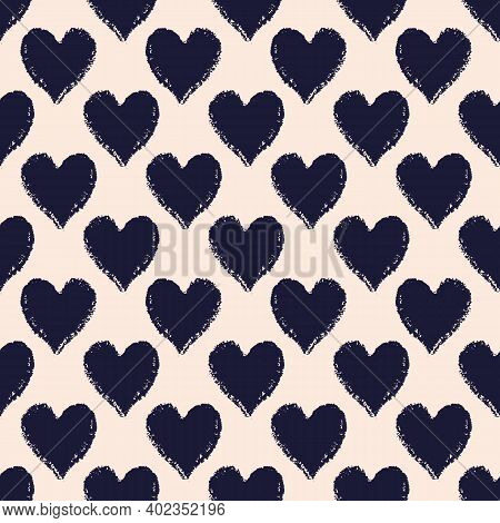 Vector Black Ecru Charcoal Hearts Seamless Pattern