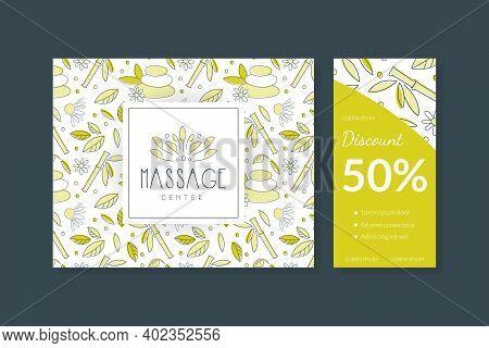 Massage Center Business Card, Flyer, Banner Templates Set, Alternative Medicine, Yoga Club, Acupunct