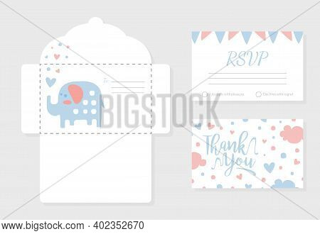 Baby Shower Invitation Card With Lovely Elephant Animal, Envelope, Thank You And Rsvp Cards In Paste